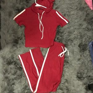 Fashion nova xs red and white jump suit